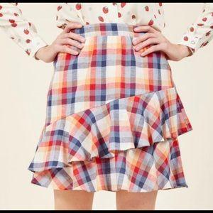 ModCloth Mini Skirt in Plaid